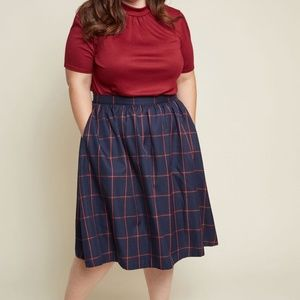 Modcloth Refined Timing A-Line Plaid Pocket Skirt